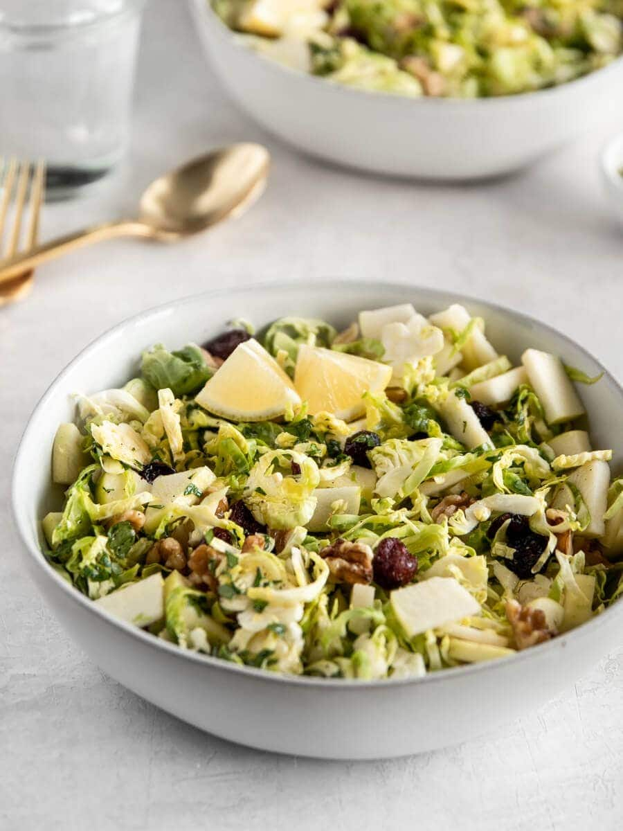 Bowl of shaved Brussels Sprouts Salad