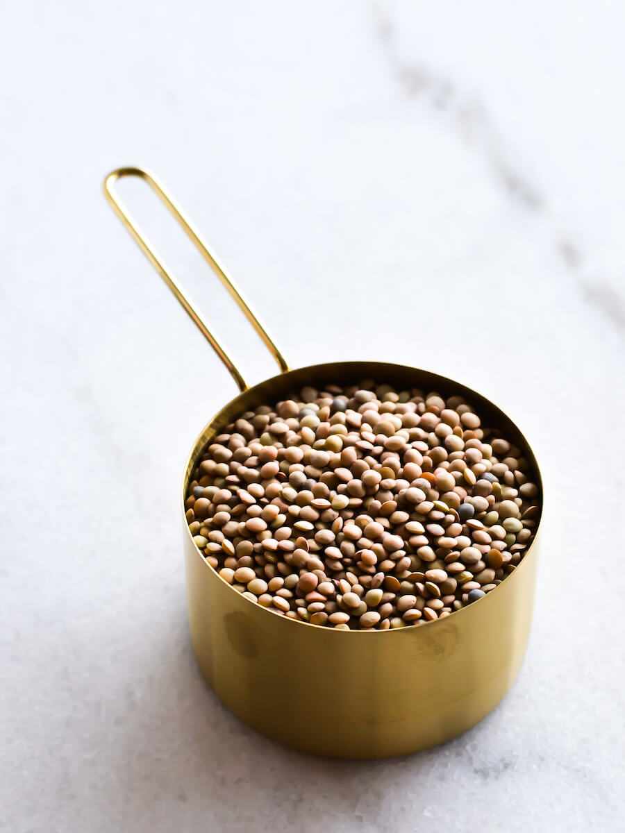 A cup of dried lentils