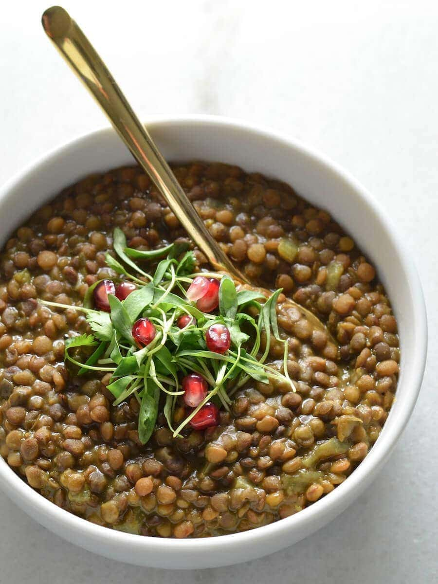A bowl of lentil soup