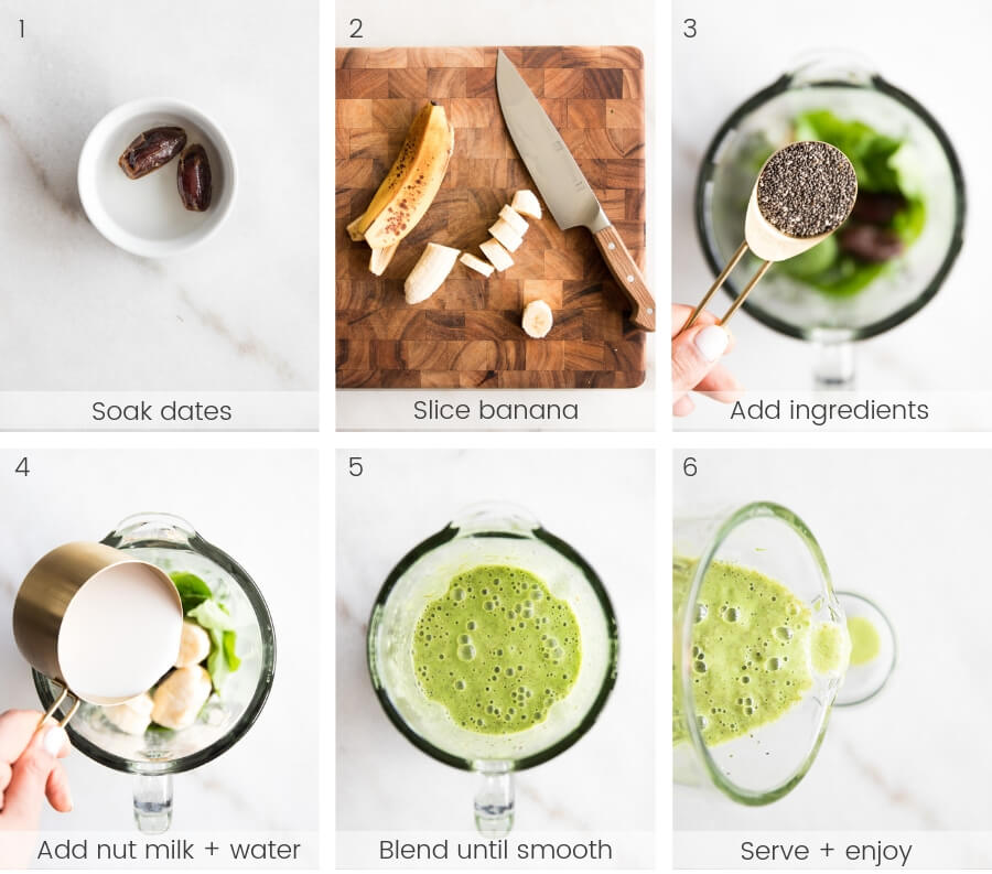 A step-by-step tutorial on how to make a morning green smoothie.