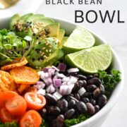 A bowl of crispy sweet potato and black beans.