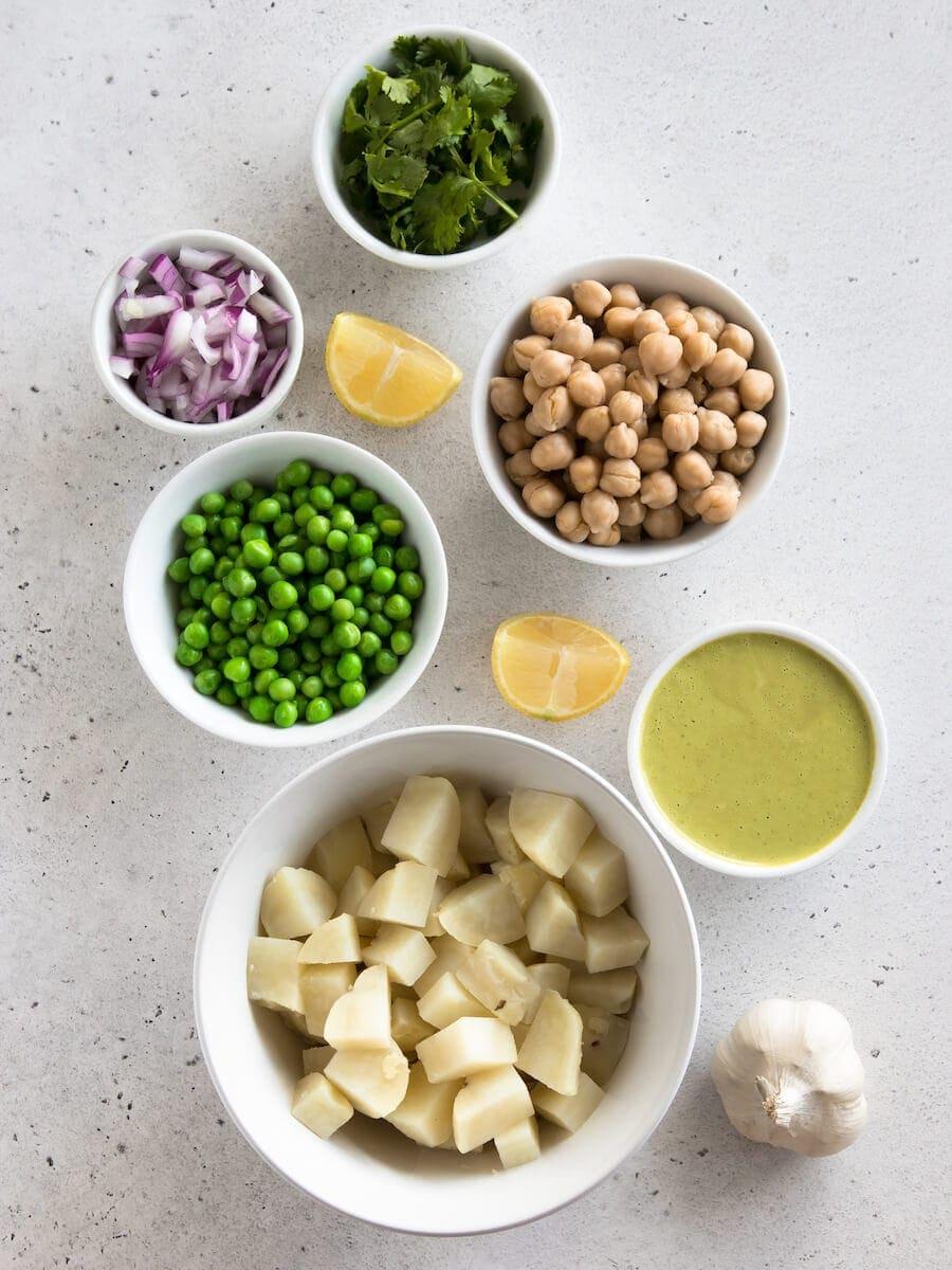 Ingredients of masala potato salad.