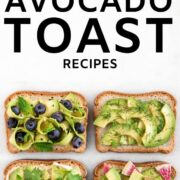Four avocado toasts with different toppings