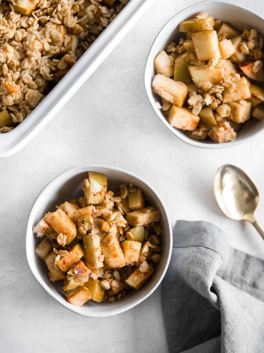 Two bowls of Walnut Apple Crisp