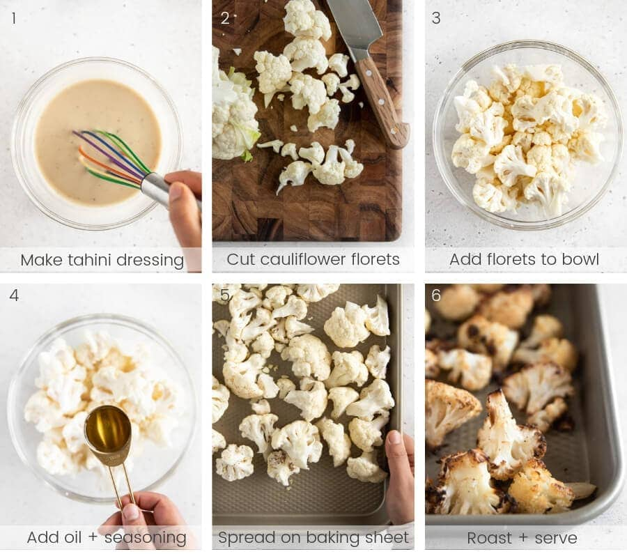 Step by step instructions on how to roast cauliflower.