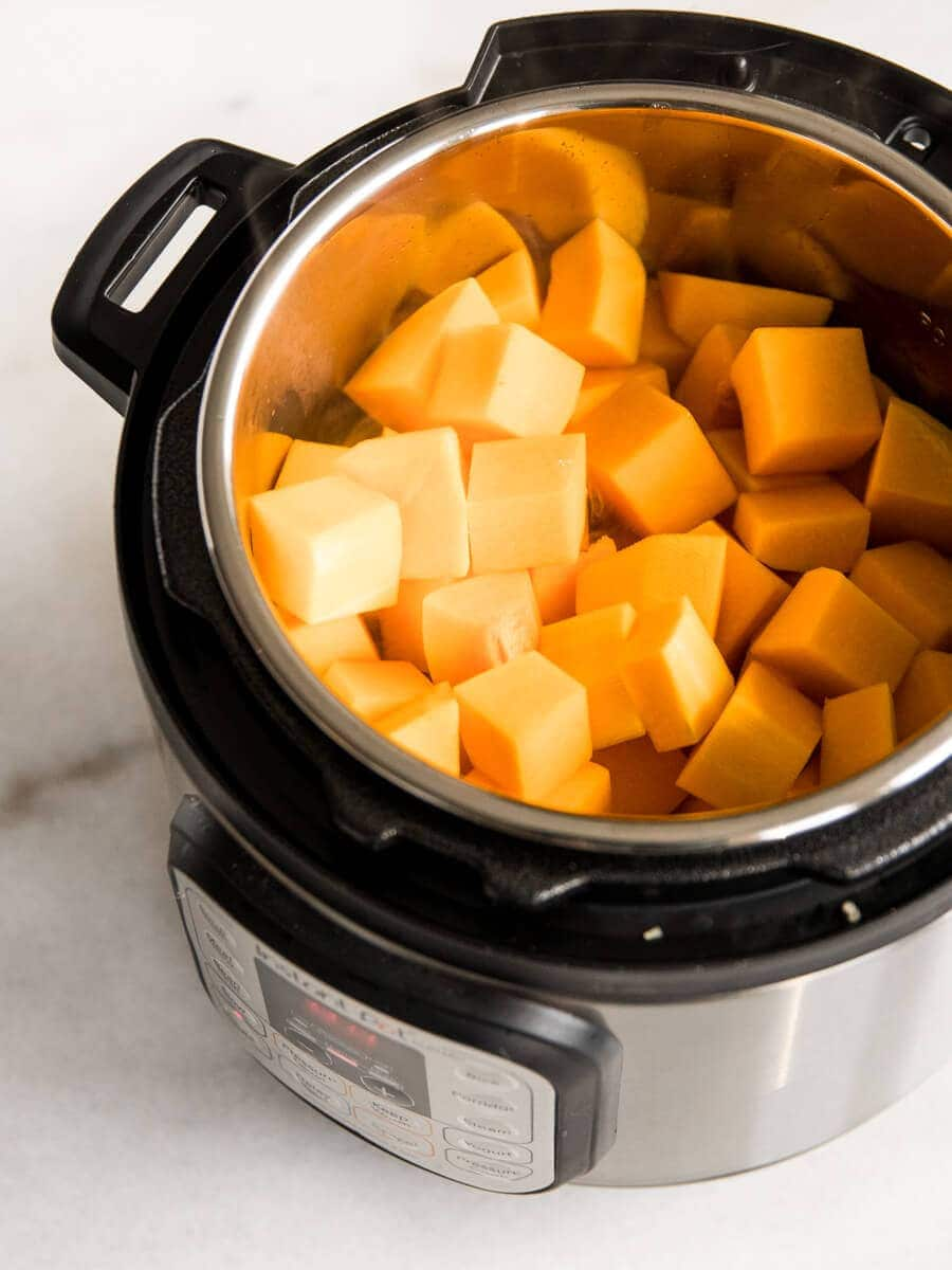 Instant Pot filled with diced butternut squash