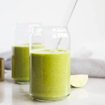 Glasses of morning green smoothie
