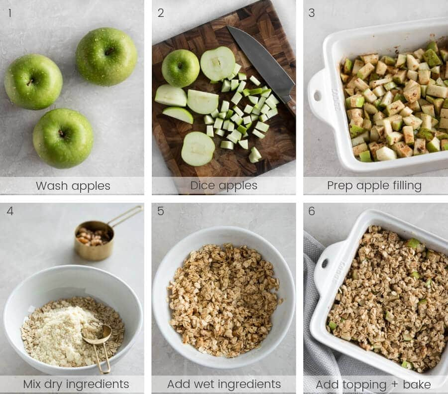 Step-by-step instructions on how to make walnut apple crisp.