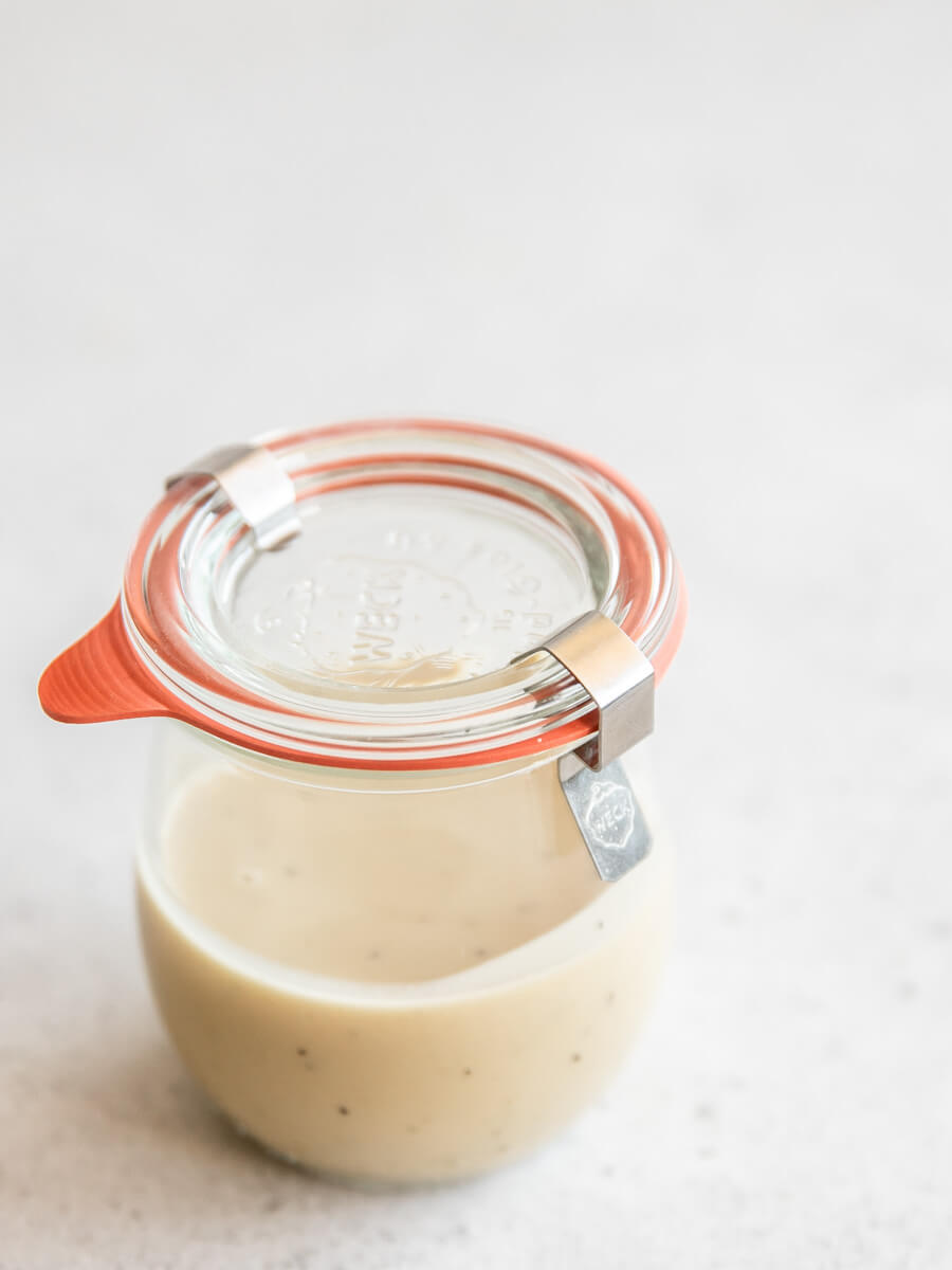 Weck jar filled with homemade lemon tahini dressing