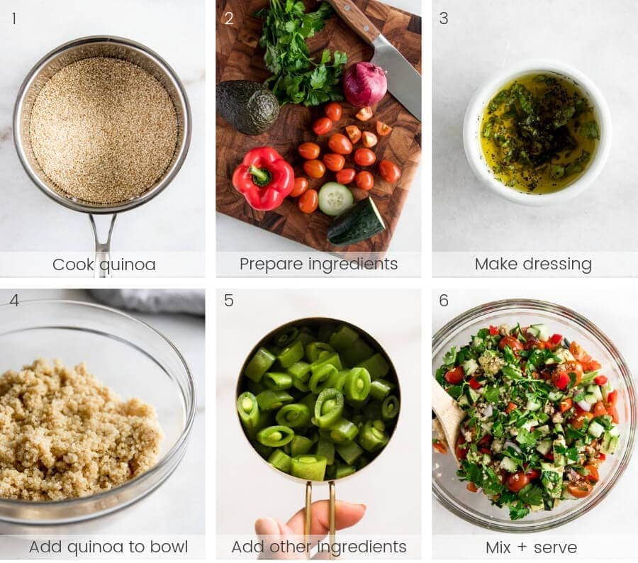 Step by step instructions for making a quinoa salad.