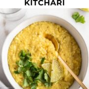 A bowl of kitchari with fresh cilantro on it.