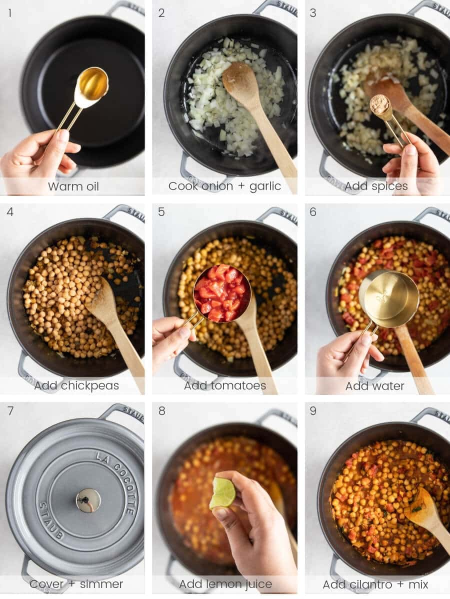 Step-by-step instructions on how to make chana masala (Indian chickpea curry)