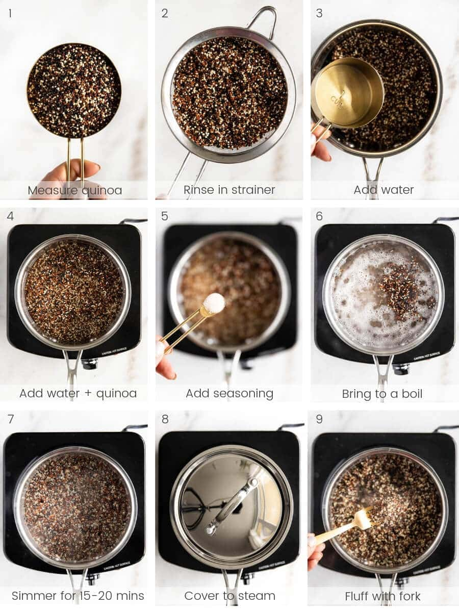 Step-by-step instructions on how to make quinoa.
