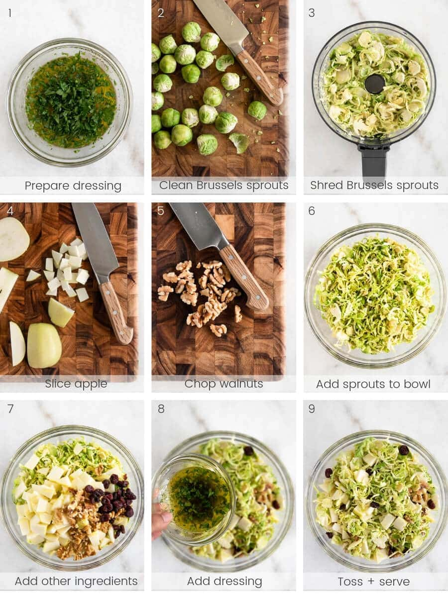 Step-by-step instructions on how to make Shaved Brussels Sprouts Salad.