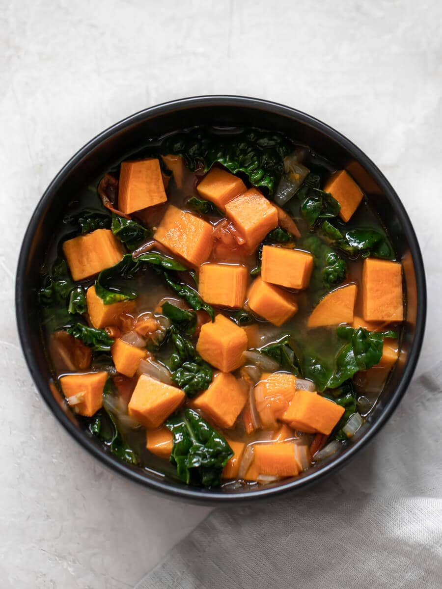 Bowl of sweet potato and kale soup