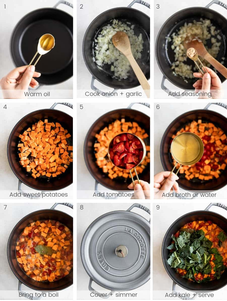 Step-by-step instructions on how to make the soup.
