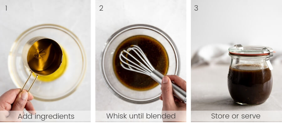 How to make a delicious balsamic vinaigrette dressing with step-by-step instructions.