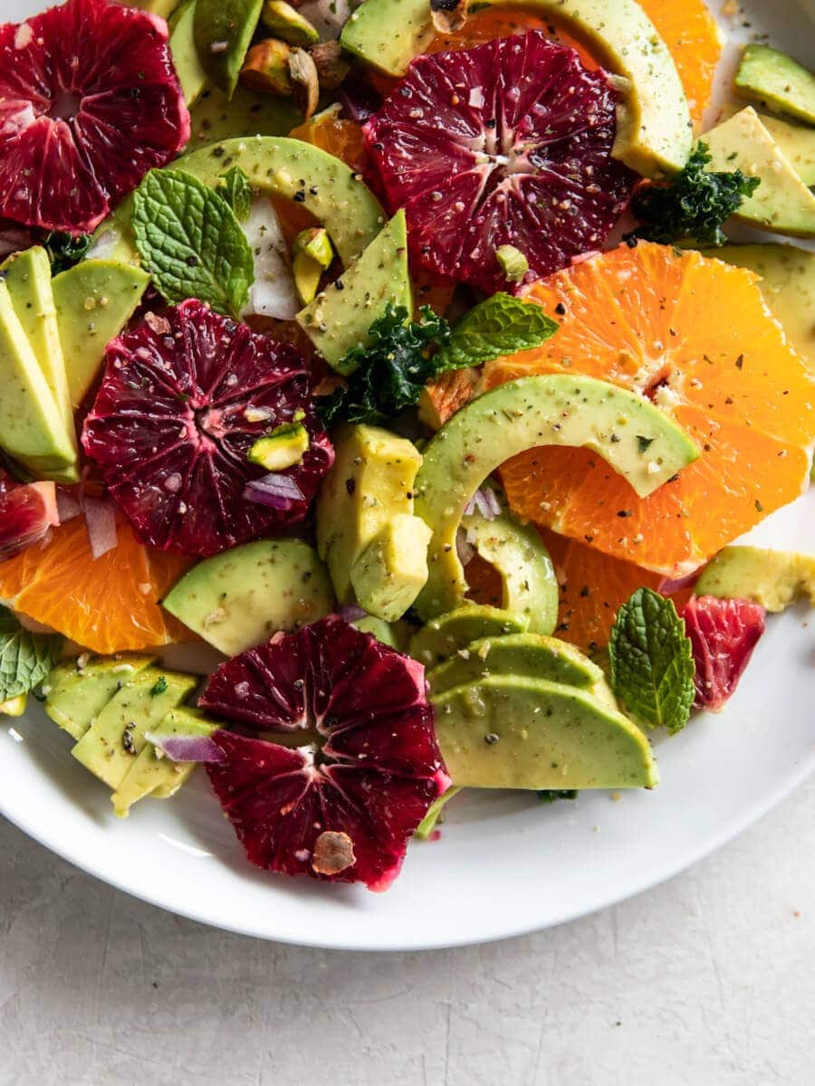 A plate of citrus avocado salad.