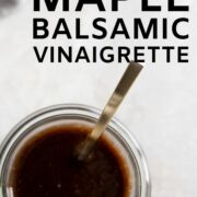 A jar of balsamic dressing - just combine the ingredients in a jar and shake! Voila - easy one minute dressing!