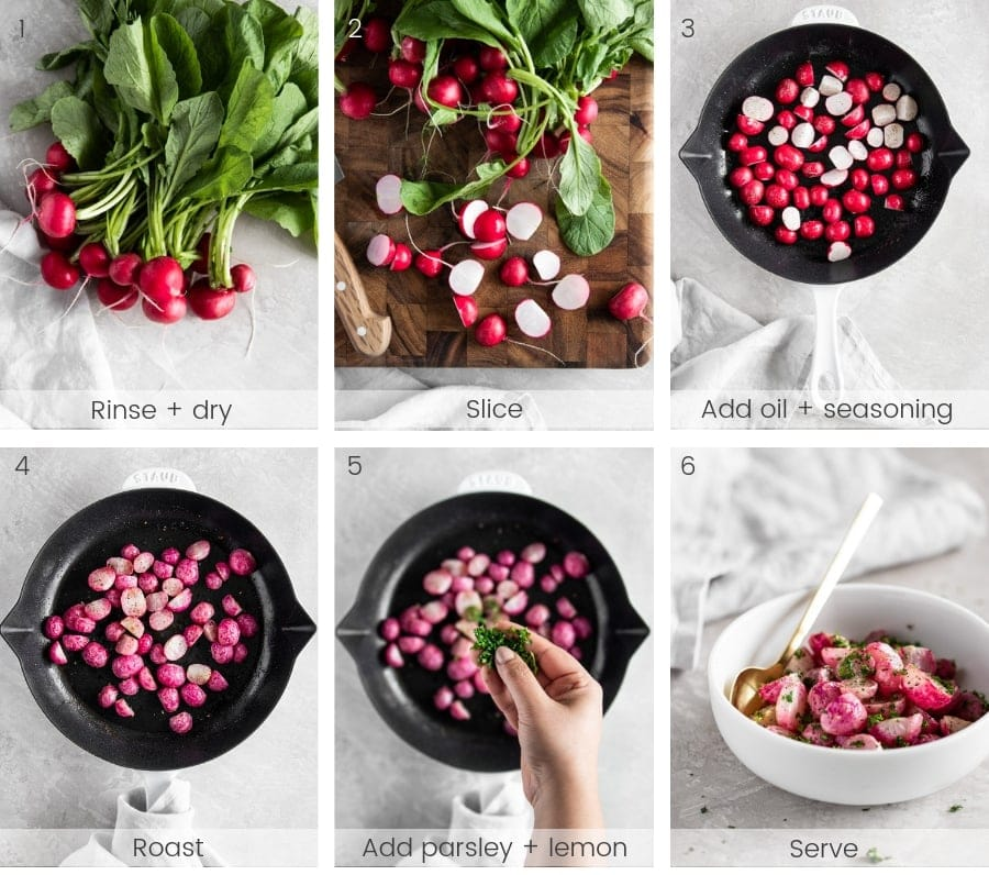 Step-by-step instructions on how to make roasted radishes.