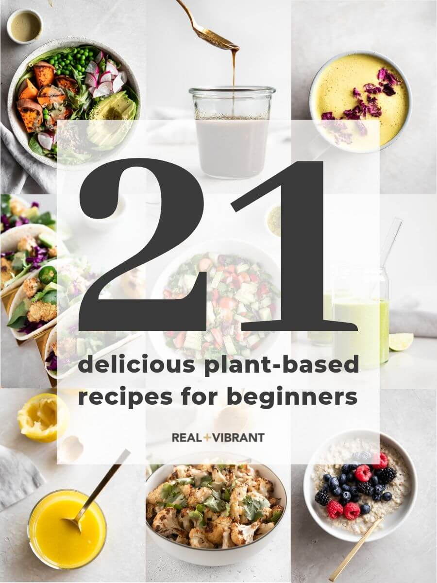 Collage of plant-based recipes with title of article