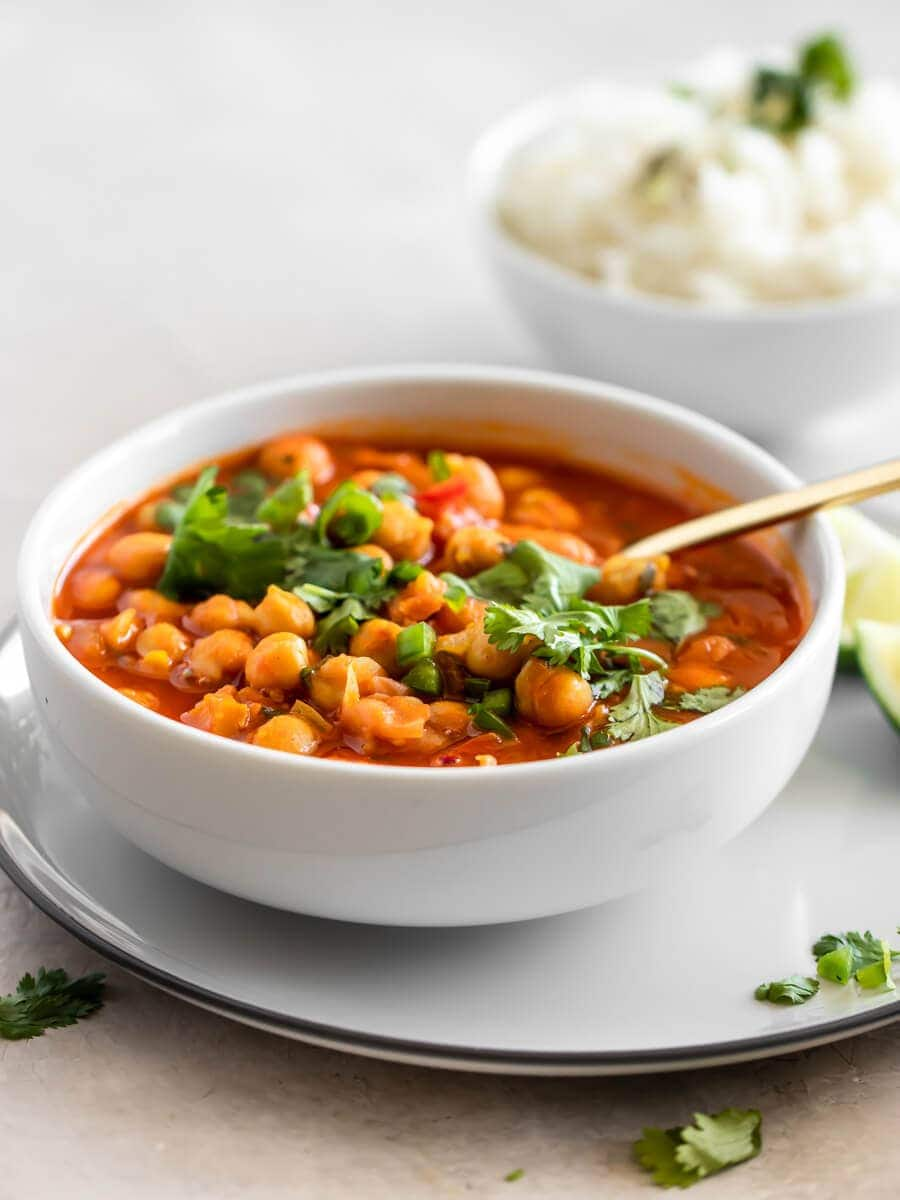 A bowl of Indian Chickpea curry with a side of Basmati rice
