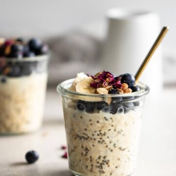Two jars of overnight oats