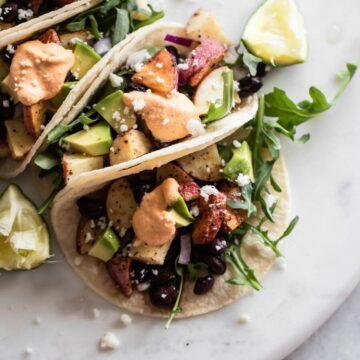 Close-up of crispy potato tacos recipes