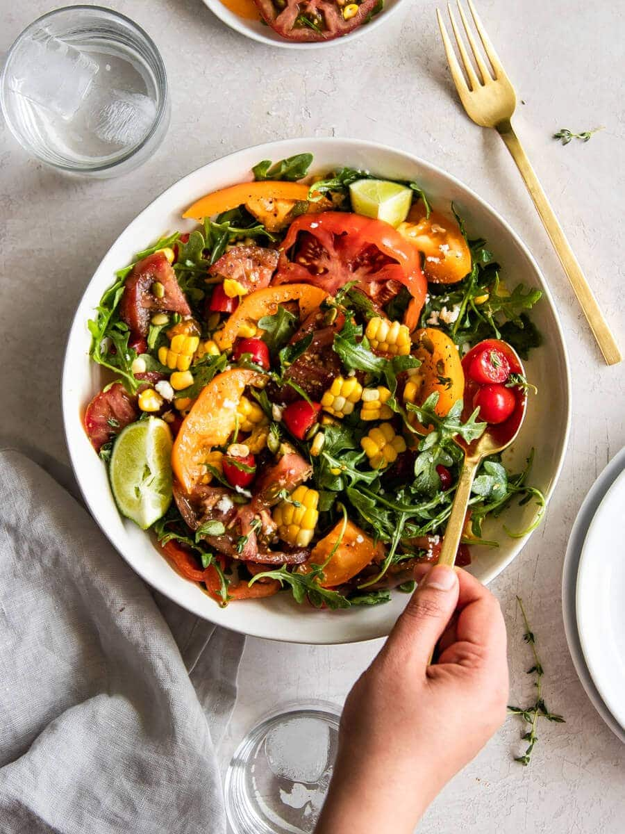 A bowl of heirloom tomato salad