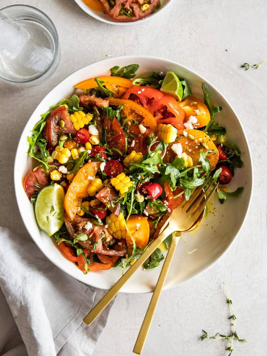 A bowl of heirloom tomato salad.