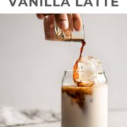 A glass of iced vanilla latte.