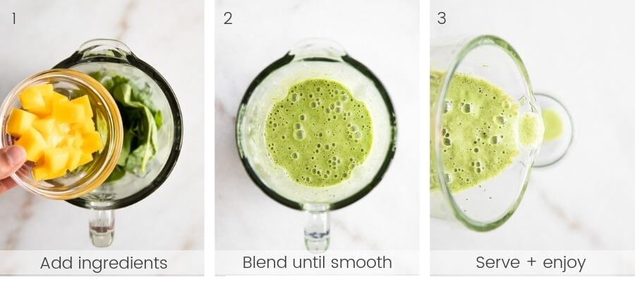 Step-by-step instructions on how to make the smoothie