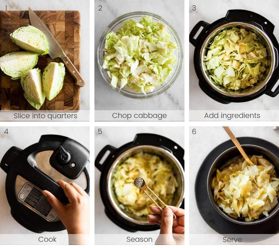 Step-by-step instructions on how to cook cabbage in the Instant Pot.