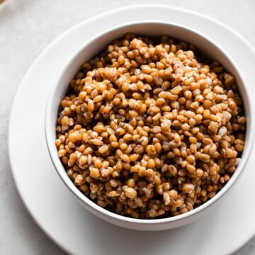 Bowl of cooked wheat berries