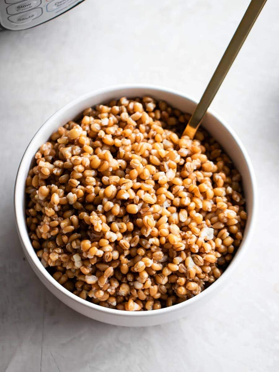A close-up of the prepared wheat berries.