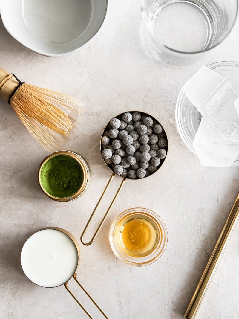 All of the ingredients needed to make a matcha bubble tea