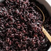 A bowl of black rice cooked in the Instant Pot.