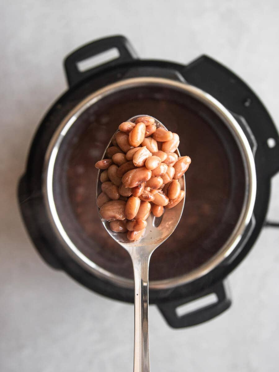Slotted spoon holding cooked beans.