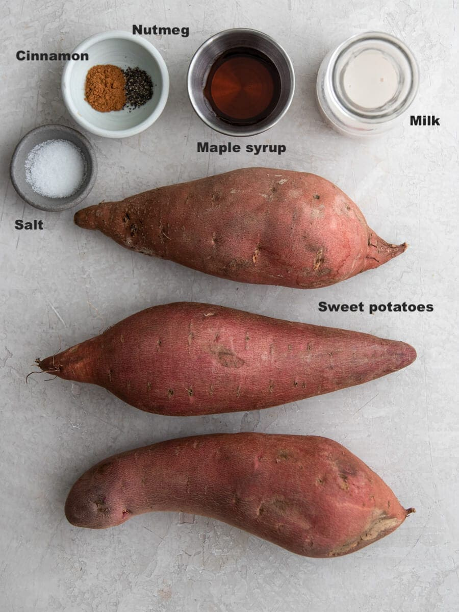 Layout of ingredients used in mashed sweet potatoes.