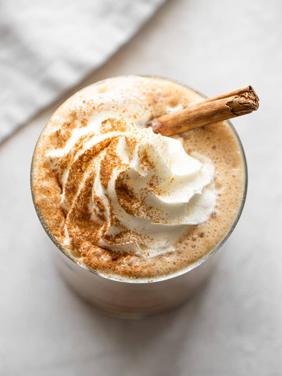 Iced pumpkin spice latte with whipped cream