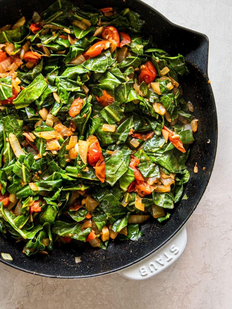 A pan of cooked vegan collard greens
