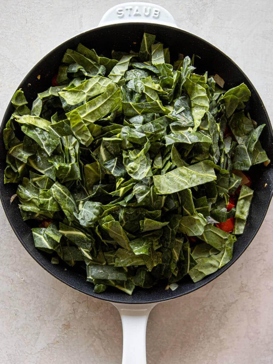 Pan after adding fresh collard greens.