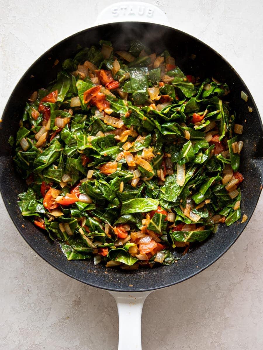 Cooked collard greens.