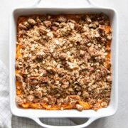 Vegan sweet potato casserole in baking dish.
