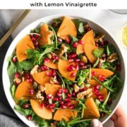 Pin for Arugula Persimmon Salad.