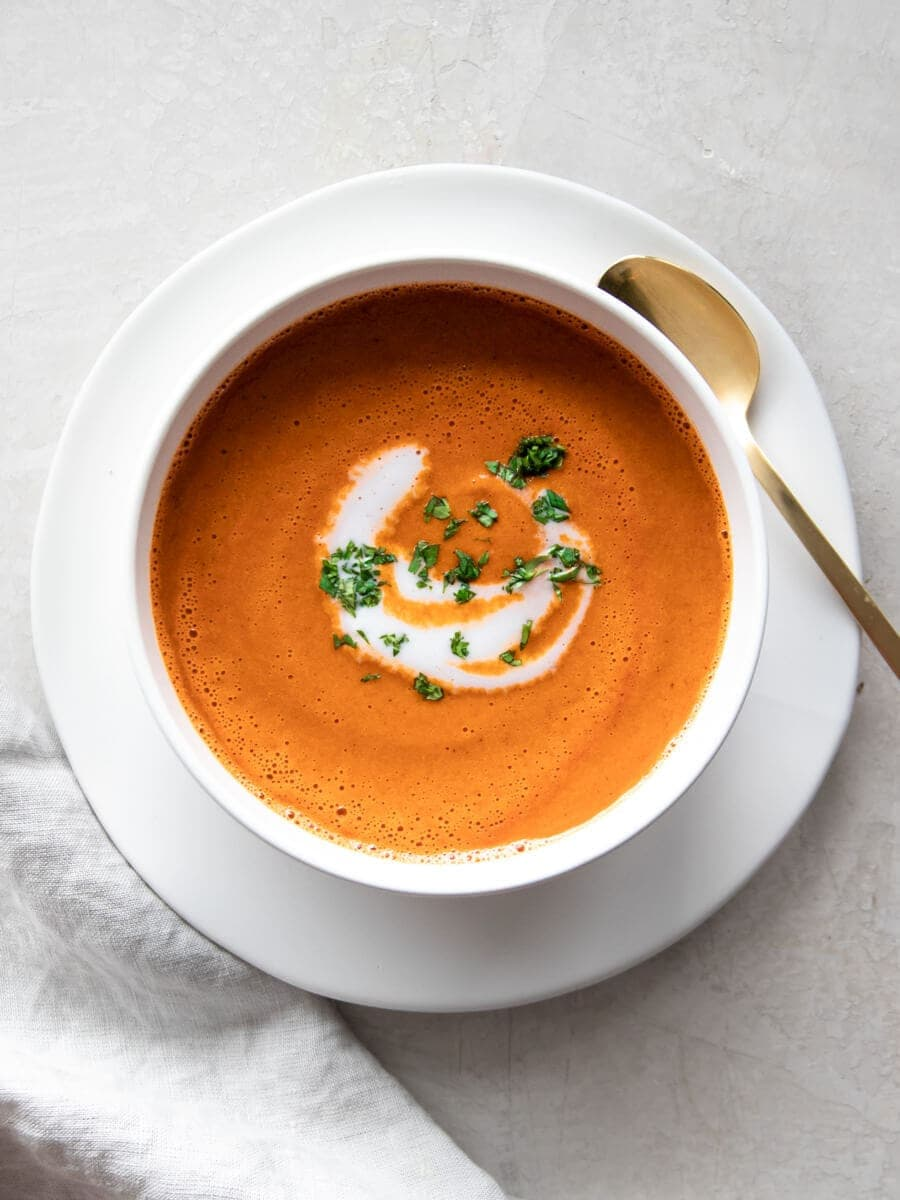 A bowl of tomato soup made in the Instant Pot.