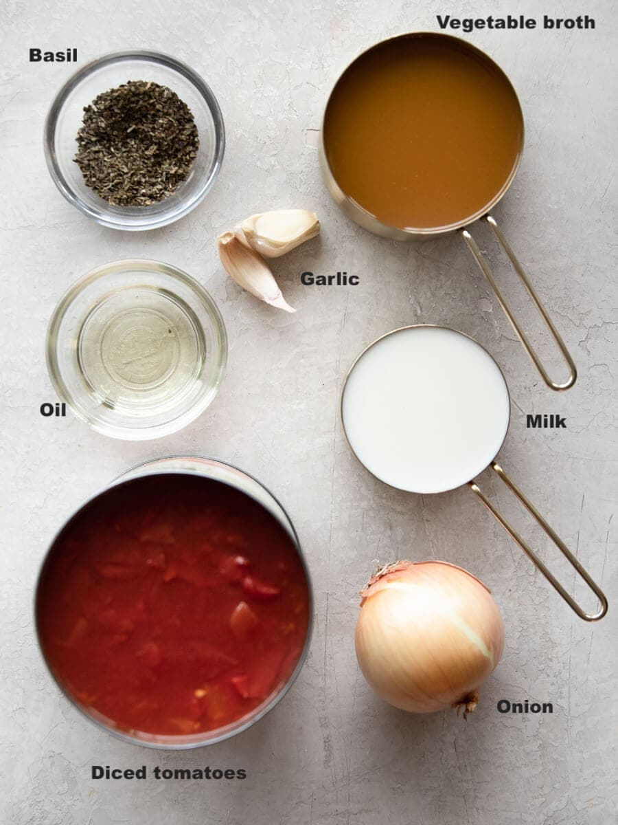 Layout of ingredients used to make the soup.