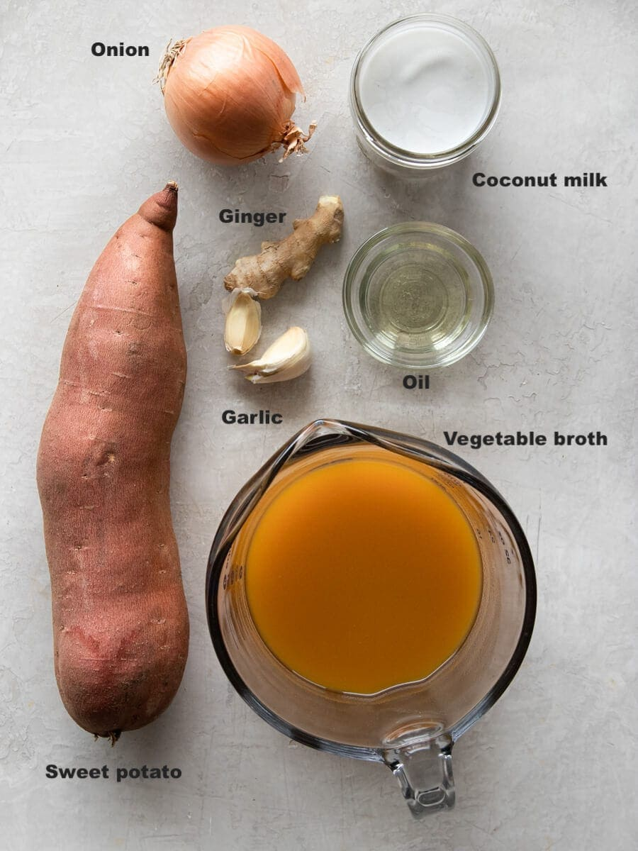 Ingredients for sweet potato soup laid out.