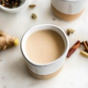 Close-up of cup of chai.