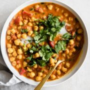 Bowl of coconut chickpea curry.